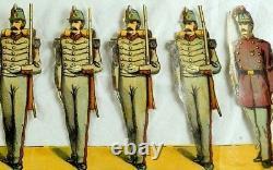 1870's-80's Die Cut Civil War Paper Toy Soldiers Uncut Strip 4 1/4 X 11 1/2