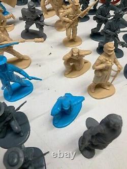 54mm CIVIL WAR PLASTIC TOY SOLDIERS LOT OF 70+ PIECES MEN + HORSES + MORE