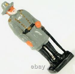 Antique CIVIL War Hand Painted Confederate Robert E Lee Toy Soldier W Box Nos