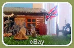 Barzso Confederate Civil War Camp Diorama/14 Soldiers/54mm ACW-TSSD Conte &Marx