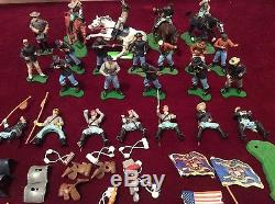 Box lot of Vintage Britains Swoppet Plastic Toy Soldier Civil War