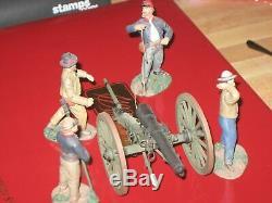 Britains CIVIL War 31098 Confederate Artillery Set No. 3 Fire Gun +4 Man Crew
