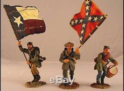 Conte Civil War metal soldiers ACW-57126 Texas brigade flag bearer and drummer