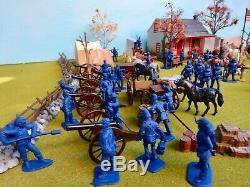Marx/Britains++ 54mm Civil war union camp custom playset 87 figs bldg ++used oop