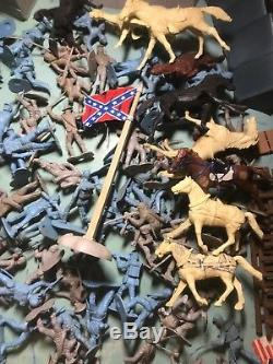 Marx Vintage Civil War Confederate Union Troops and Accessories Huge Lot Look