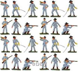Starlux American Civil War CSA Infantry 24 Painted 60mm Plastic Toy Soldiers