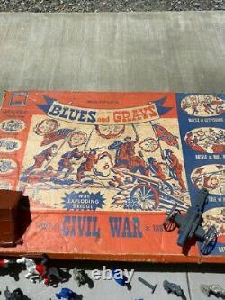 Vintage 1960 Civil War Set Toy Soldiers Accessories Horses Original Box RARE