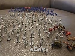 Vintage 1960s Civil War Soldiers Blue Gray Cannons Horses 1/72 HO Scale 225 Pcs+