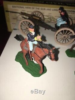 Vintage Britains Toy Soldier Civil War Gun Team Limer Set